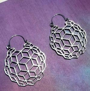 Silver Boho Geometric Basket Dome Earrings